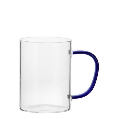 Picture of Glass Mug 12oz (Clear) BLUE Dark handle