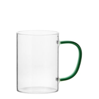 Picture of Glass Mug 12oz (Clear) GREEN Dark handle