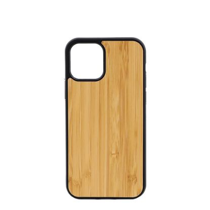 Picture of APPLE case (iPHONE 12, 12 Pro) TPU BLACK with BAMBOO