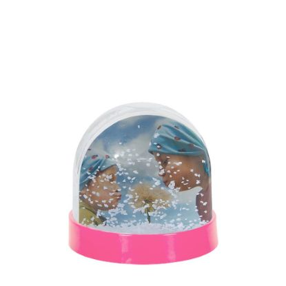 Picture of Acrylic Photo Block (Globe-7x6.3cm) PINK with White Snow