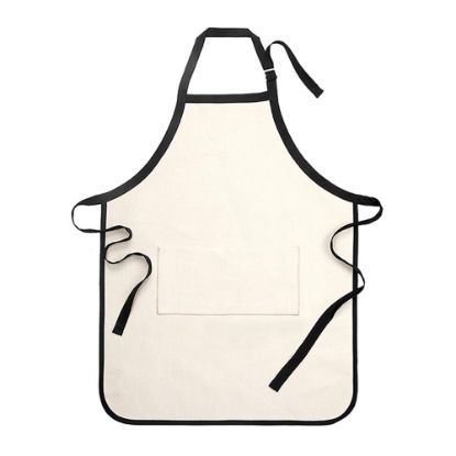 Picture of APRON - ADULTS (64x84) pocket LINEN  with Black Edge and Strip