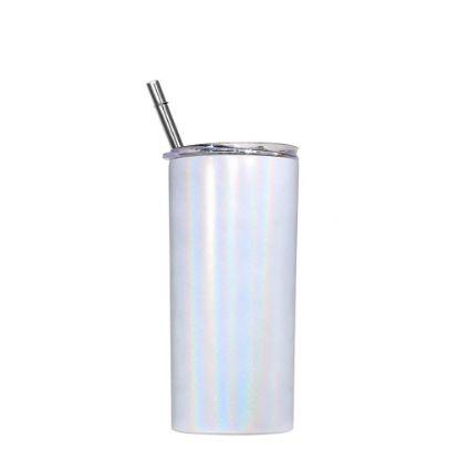 Picture of Skinny Tumbler 12oz WHITE Rainbow Sparkle