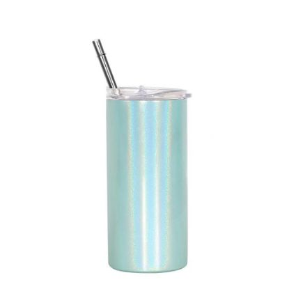 Picture of Skinny Tumbler 12oz GREEN Rainbow Sparkle