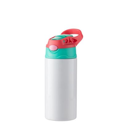 Picture of Kids Bottle (360ml) WHITE Red Cap with Silicone Straw