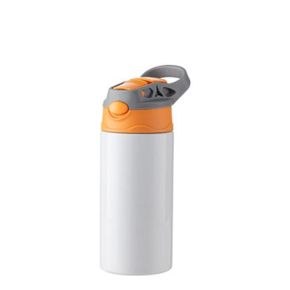 Picture of Kids Bottle (360ml) WHITE Orange Cap with Silicone Straw