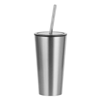Picture of Tumbler 16oz - SILVER with Black Cup & Straw