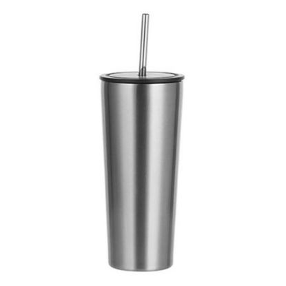 Picture of Tumbler 22oz - SILVER with Black Cup & Straw
