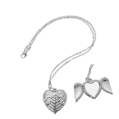 Picture of NECKLACE SILVER Heart Angel Wings - 3x3cm