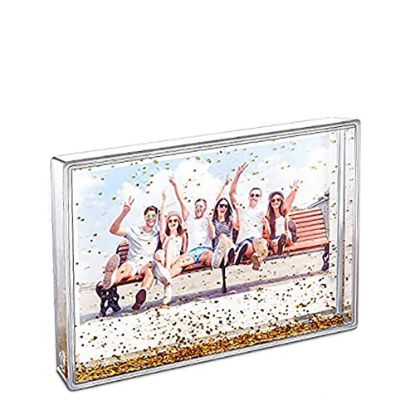Picture of Acrylic Photo Block (Rectangle-10x15cm) CLEAR with Gold Snow