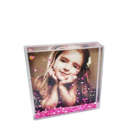 Picture of Acrylic Photo Block (Square-10x10cm) CLEAR with Pink Snow